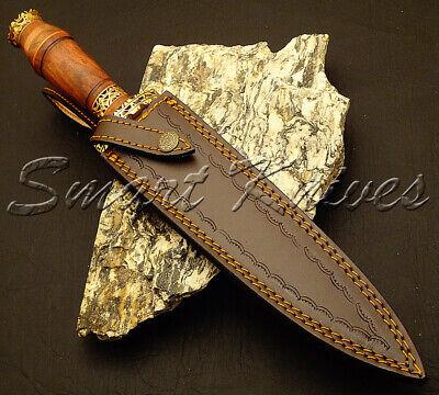 Smart Knives Hand Made Damascus Steel Hunting Dagger Knife Rose Wood Handle 9
