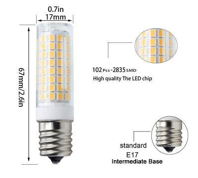 10pcs E17 Base C9 led bulb for Microwave Oven Appliance 80 3014 SMD 120V//6500K H