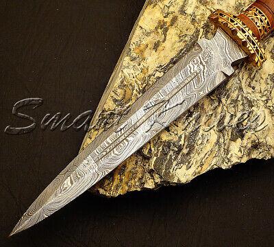 Smart Knives Hand Made Damascus Steel Hunting Dagger Knife Rose Wood Handle 2
