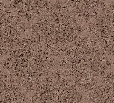 Vlies tapete barock muster ornament kupfer braun glitzer for Tapete braun glitzer