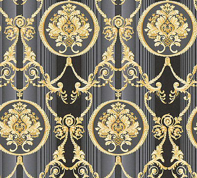 LUXUS VLIES TAPETE Barock Muster Ornament schwarz gold metallic ...