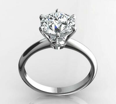 2 Ct Real Natural Diamond Engagement Ring Round Cut D Si1 14K White Gold 2