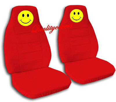 6 Of 9 2 Front Black Smiley Face Seat Covers Universal Size