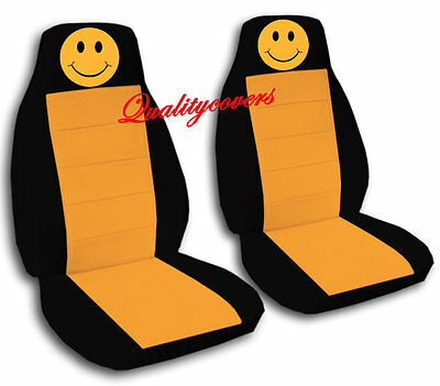 1 Of 9 2 Front Black Smiley Face Seat Covers Universal Size