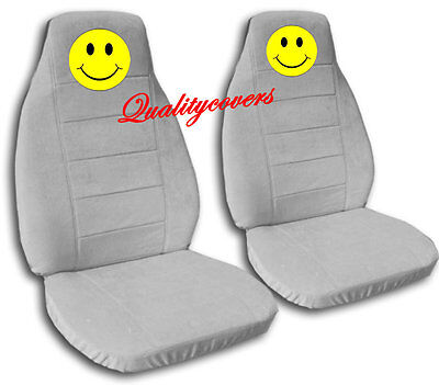7 Of 9 2 Front Black Smiley Face Seat Covers Universal Size