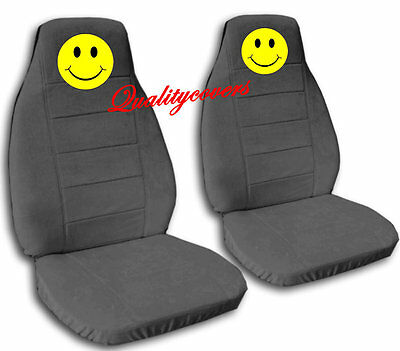 3 Of 9 2 Front Black Smiley Face Seat Covers Universal Size