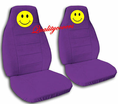 5 Of 9 2 Front Black Smiley Face Seat Covers Universal Size