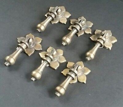 "6 Antique Tear Drop Pendant Brass Handle Pulls w. screws Floral Back 2 1/2"" #H4"
