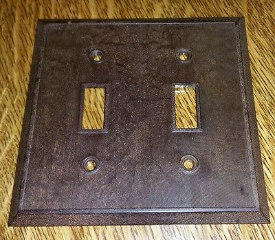 Vintage Early Mid Century BAKELITE Ribbed Double Wall Light Switch Plate Cover 4