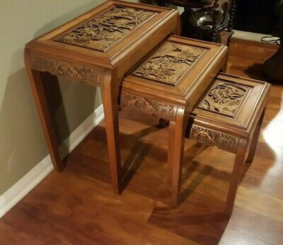 Antique Carved Rosewood Asian Nesting / Stacking Tables Set of Three 3