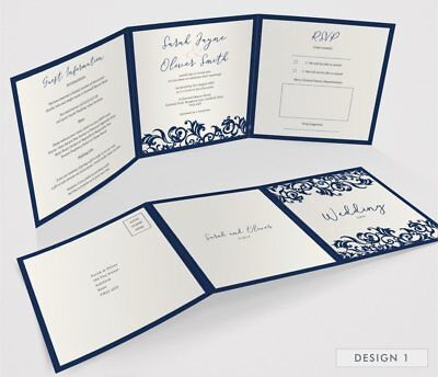 Personalised Tri-Fold Wedding Invitations Includes RSVP, Poem or Info Cards (G3) 3