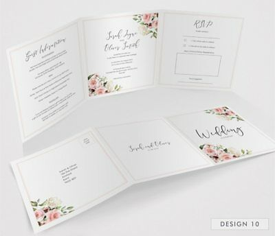 Personalised Tri-Fold Wedding Invitations Includes RSVP, Poem or Info Cards (G3) 12