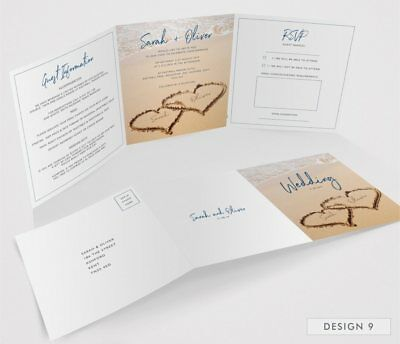 Personalised Tri-Fold Wedding Invitations Includes RSVP, Poem or Info Cards (G3) 11