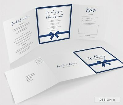 Personalised Tri-Fold Wedding Invitations Includes RSVP, Poem or Info Cards (G3) 10