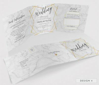 Personalised Tri-Fold Wedding Invitations Includes RSVP, Poem or Info Cards (G3) 6