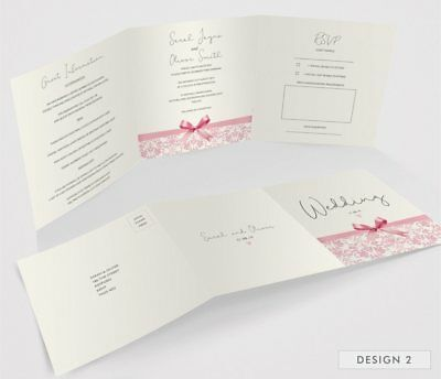 Personalised Tri-Fold Wedding Invitations Includes RSVP, Poem or Info Cards (G3) 4