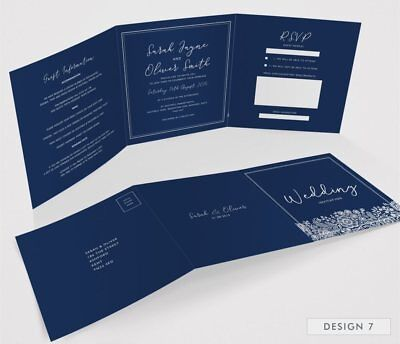Personalised Tri-Fold Wedding Invitations Includes RSVP, Poem or Info Cards (G3) 9