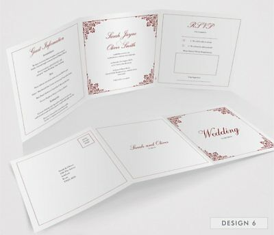 Personalised Tri-Fold Wedding Invitations Includes RSVP, Poem or Info Cards (G3) 8