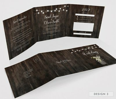 Personalised Tri-Fold Wedding Invitations Includes RSVP, Poem or Info Cards (G3) 5
