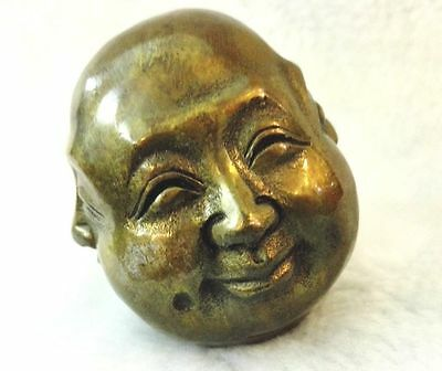 Antiques Old tibet brass 4 faces buddha head statue Figures 6cm 3