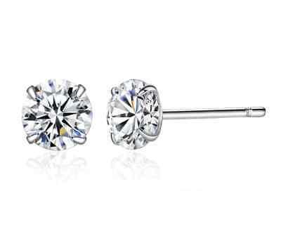 Women Men Genuine 925 Solid Sterling Silver Cubic Zirconia Round Stud Earrings 9