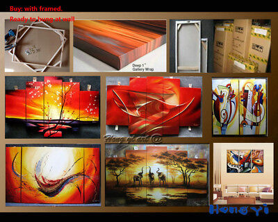 Framed Large Modern Decor 5 panels Red Flowers Oil Painting on Canvas Wall Art 7
