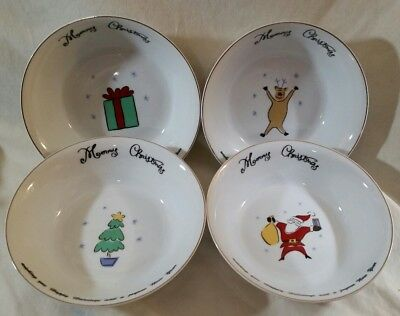 """NEW Merry Brite 4 Christmas Soup/Cereal Bowls Santa, Reindeer, Gift & Tree 61/2"""" 4"""