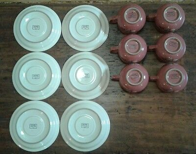 Denby Damask Teacup and Saucer Set of 6 Pink Floral 4