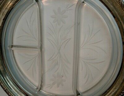 """12"""" vintage Whiting sterling silver etched crystal divided serving tray platter 2"""