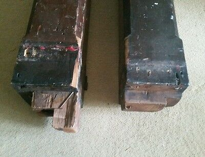 """Pair of 27"""" Antique Solid Wood Newel Baluster Posts, Pillars or Columns 4"""