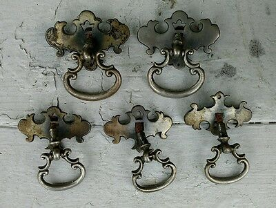 Lot of 5 Drawer Pulls Antique Rusty Chrome Pieces 4