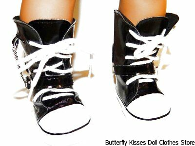 High Top Sneaker Black Chain Buckle 18 in Doll Clothes Fits American Girl