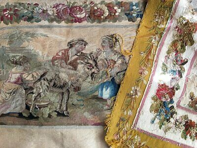 """RARE 55.5"""" Long Antique French Aubusson Tapestry Fragment, Sofa Panel, Figural 8"""