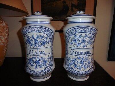 Deruta - Apotheker Vasen Majolika italienische Keramik handgemalt Paar 8