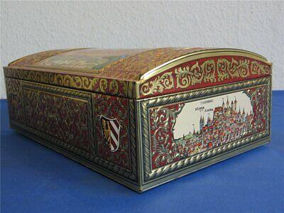 Alte weiss Silbertruhe Lebkuchen Blechdose - LEER - 270 x 170 x 100 Lebkuchendos 2