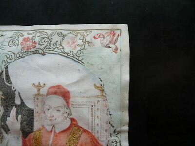 Pergamena Due Ritratti Papali Disegnata d'Epoca a Colori Religione Seicento
