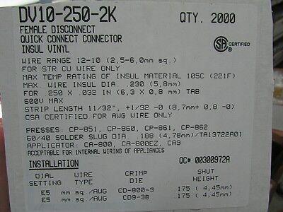 48 Panduit Yellow 1/4 Female Electrical Quick Connector Crimp Terminals DV10-250 5