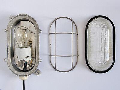Fabriklampe Bakelit Original Bunkerleuchte Wand Decke Schiff Keller Gitter Antik
