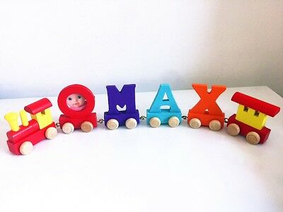 Baby Christening Gifts Wooden Colour train letters for Personalised name train 2