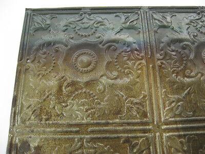 Vintage Tin Quatrefoil Victorian Ceiling Tile - 24 x 24 inches