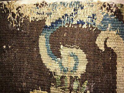 "Antique Verdure Flemish Tapestry Fragment for Throw Pillow, 11"" x 10"", c. 1600s 5"