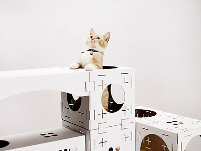 Cat Activity Centre Kitten Cardboard Play Boxes Toy Box Card Tunnel Cats Kittens 3 • EUR 21,94