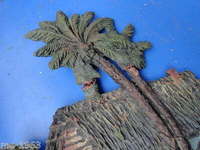 original Elastolin Blockhaus mit Palmen Masse  wohl Vorkrieg 2