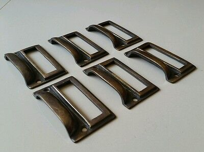 "6 tarnished brass File Apothecary drawer pull Handles 2 3/4"" Label holders #F1 5"