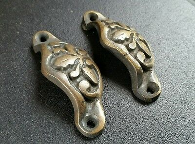 2 Solid Antique Brass Apothecary Victorian Bin Cup Finger Pulls Handles #A3 4