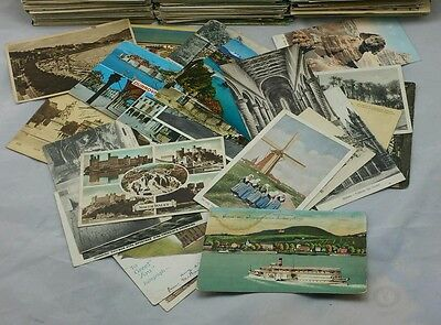 Old Vintage Postcards Collection UK & Foreign Topo B/W Colour Job Lot Mixed Eras
