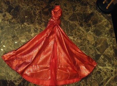 RED METALLIC EVENING GOWN MODEL MUSE * DRESS ONLY BARBIE DOLL DRESS