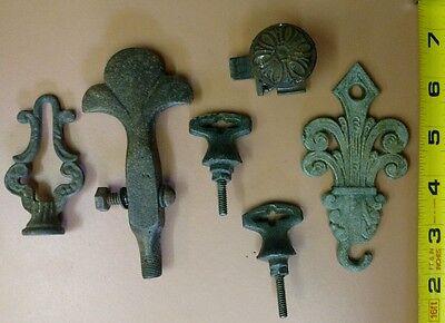 Antique Lot of 6 Drawer Handle Pulls Knob Metal Cast Iron