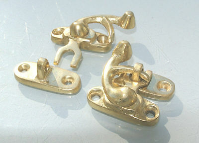 8 Nice tiny small box Latch catch solid brass POLISHED 3cm doors trinket B 5