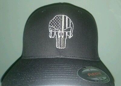 3121d5f4 VETERAN MILITARY THIN green line flex fit hat ball cap punisher new 22 skull